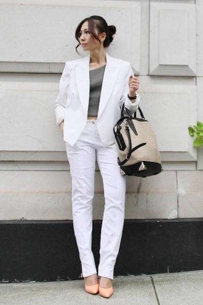 white Theory blazer - Alexander Wang bag - charcoal gray Theory top
