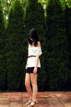 white shirt - black Forever 21 skirt - green bracelet - brown belt - beige shoes