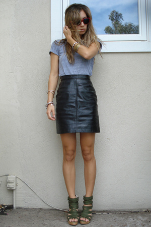 American Apparel shirt - vintage skirt - Jeffrey Campbell shoes
