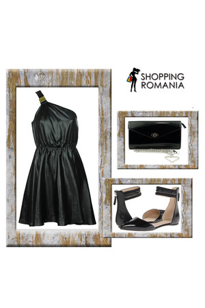 leather Otter purse - Stradivarius dress - leather michael antonio flats