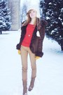 Tan-boots-crimson-coat-carrot-orange-blouse