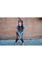 grey H&M sweatshirt - bow headband Urban Outfitters accessories