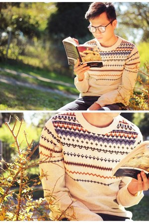 knitted jumper Topman jumper - round glasses Topman glasses - chinos asos pants