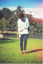 oxfords vintage shoes - Topman shirt - skinny pants acne pants