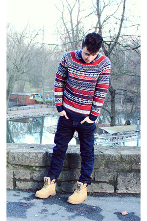 H&amp;M jumper - gold Dockers boots - navy asos jeans - H&amp;M shirt