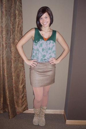 green Heartbreaker shirt - brown Old Navy skirt - beige Target tights - beige bo