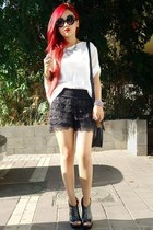 white white top castro top - black heels Republic wedges