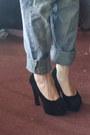 Blue-unknown-jeans-white-desigual-t-shirt-black-pu-rubber-shoes-oasap-pumps