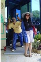 blue matahari dept cardigan - tan bandung crave hat - off white Nevada shorts