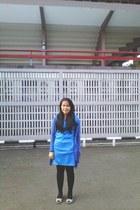 blue dress - crimson leggings - violet cardigan - off white wedges
