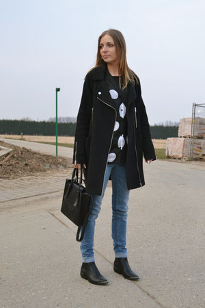 Zara jeans - h&amp;m divided boots - asos coat - Zara bag - H&amp;M Trend blouse