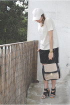 black H&M bag - ivory divided H&M hat - ivory COS shirt