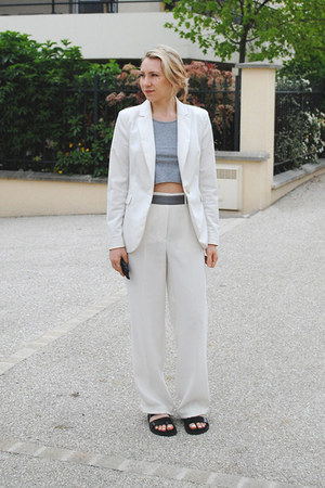 white H&M blazer - white wide legs & other stories pants - black Zara sandals