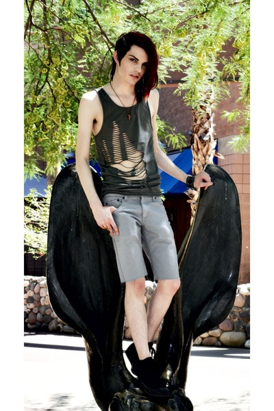 green Cheap Monday top - gray Levis shorts - black Converse shoes - necklace - b