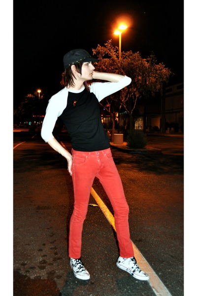red volcom pants - black American Apparel t-shirt - white Converse - black hat -