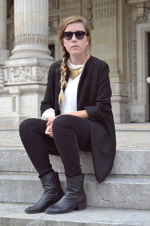 Zara coat - Zara jeans - Zara blouse - SuperTrash necklace