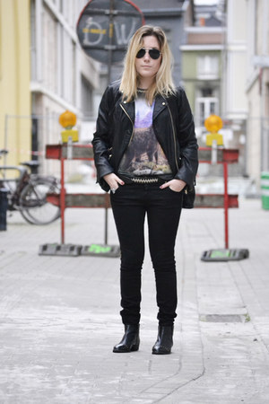 Bershka jacket - Mango boots - pull&amp;bear jeans - Zara t-shirt