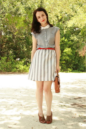heather gray striped Twitch Vintage dress - brown thrifted Dooney & Bourke purse