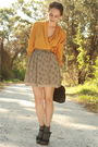 Gold-httpstoresebaycomtwitchvintage-blouse-beige-thrifted-skirt-gray-hue-soc