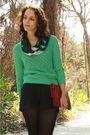 Green-sweater-black-american-apparel-shorts-black-walgreens-tights-black-m