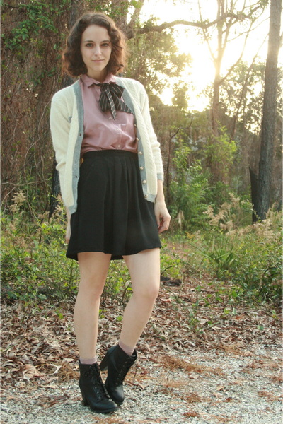 white httpstoresebaycomTwitchVintage sweater - pink thrifted blouse - black thri
