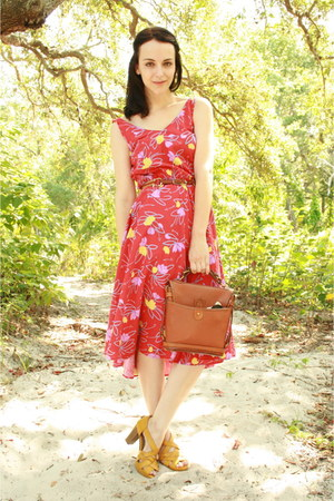 red Twitch Vintage dress - brown Dooney &amp; Bourke purse - brown leather thrifted 