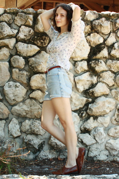 white vintage blouse - blue httpstoresebaycomTwitchVintage shorts - brown thrift