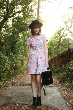 black H&M boots - pink floral print vintage dress - black boater bowler asos hat