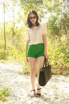 black straw thrifted vintage bag - green Twitch Vintage shorts - dark brown tort