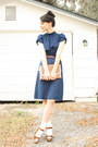 Navy-vintage-dress-tan-striped-straw-thrifted-purse