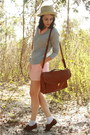 Heather-gray-v-neck-thrifted-gap-sweater-brown-via-ebay-coach-bag-white-ankl