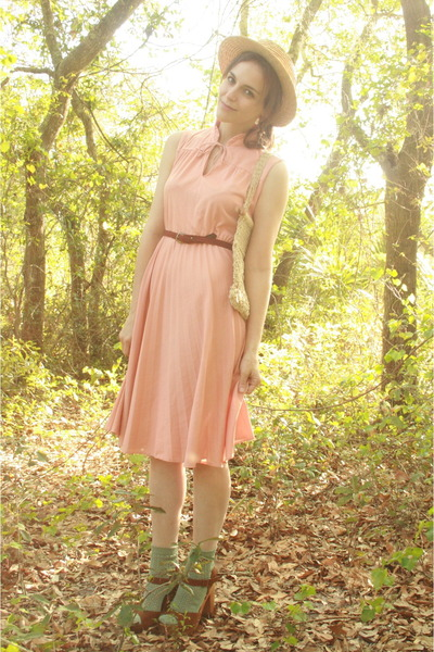peach pleated httpstoresebaycomTwitchVintage dress - tan boater thrifted hat - i