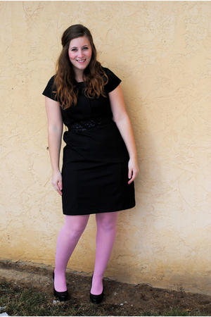 black Target dress - pink Betsey Johnson tights - black thrifted belt - black BC