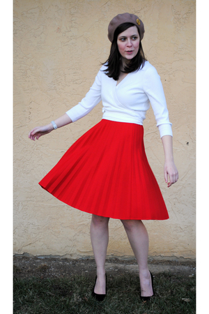 red ann taylor skirt - black Goodwill shoes - white thrifted top - beige thrifte