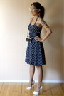 Navy-polkda-dots-forever21-dress-white-white-aldo-heels