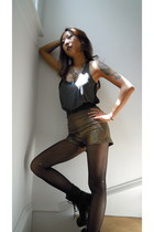 gold holographic American Apparel shorts - black Spring boots