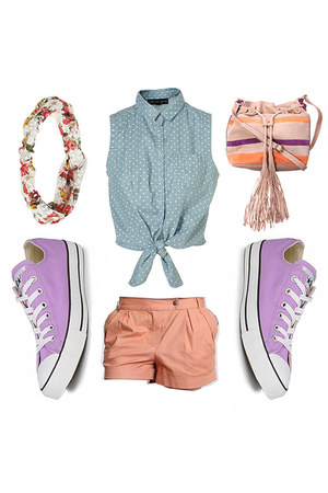 scarf - light pink bag - bubble gum shorts - amethyst all start sneakers