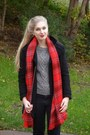 Black-h-m-coat-black-h-m-jeans-gray-h-m-sweater-red-h-m-scarf
