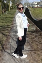 black H&M jeans - off white Primark blazer - sky blue H&M blouse