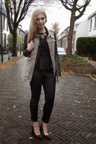 army green army H&M vest - black leather we jacket - black peplum H&M top