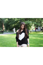 black inlovewithfashion sweater - white Converse shoes - ivory Oasapcom shorts