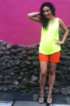 carrot orange Ralph Lauren shorts - lime green Zara necklace