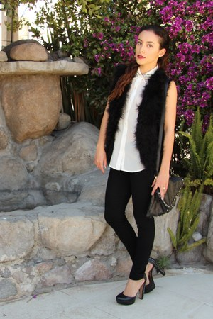 black Vince Camuto shoes - white studded Wild & Alive shirt