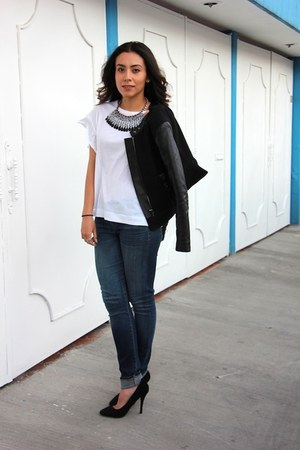 blue Zara necklace - blue skinny citizens of humanity jeans - black H&M jacket