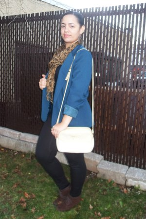 gold Koltiv purse - black Forever 21 leggings - teal thrifted blazer