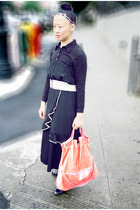 black Juicy Couture shirt - black Unocosa dress - black pants - white woven belt