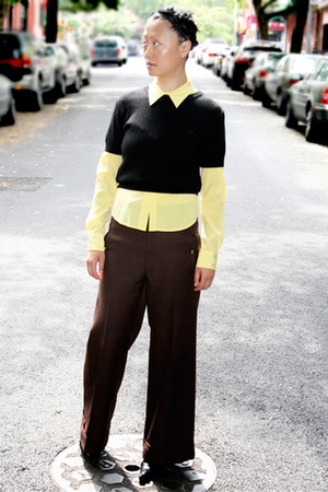 vintage sweater - Theory shirt - vintage pants