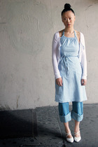 blue Petit Bateau dress - blue John Galliano jeans - white Clu shirt