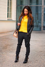 Black-zara-boots-black-tk-maxx-jacket-orange-zara-sweater-black-zara-pants