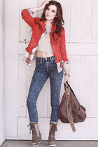 jacket - metro-11 boots - raging love jeans - bag - country perks top - top